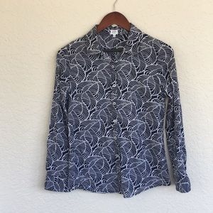 [crown&ivy] Navy and White Print Oxford